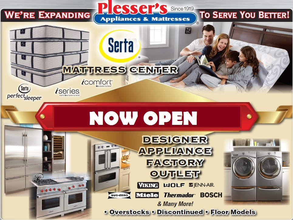 Now Open Serta Mattress center and appliance outlet - Plessers Appliances & Electronics