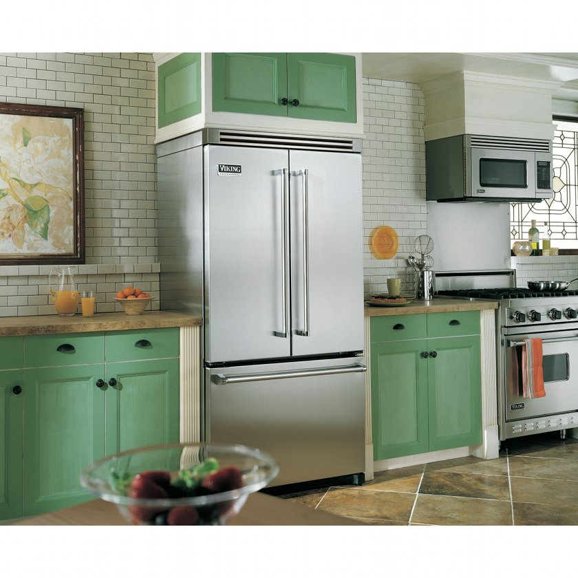 Cabinet Depth Floating Glass Refrigerator French Door