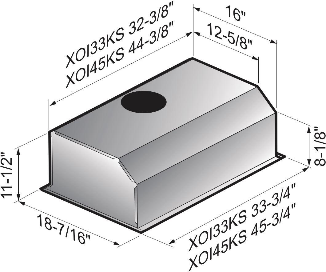 Xo XOI3315S Cabinet Insert Range Hood With 600 CFM