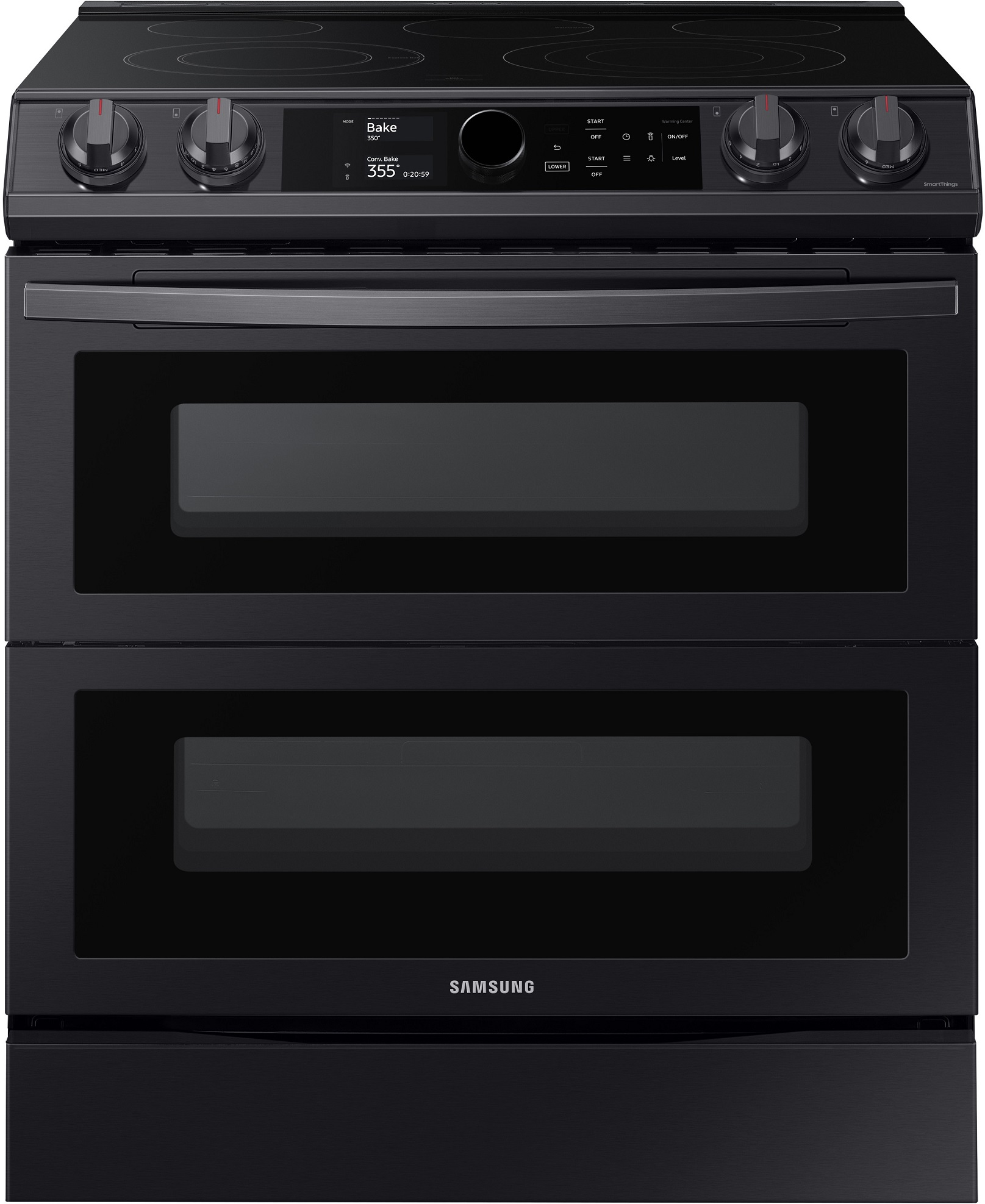 Samsung Ne63t8751sg 6 3 Cu Ft Flex Duo Front Control Slide In Electric Range With Smart Dial Air Fry Wi Fi Fingerprint Resistant Black Stainless Steel