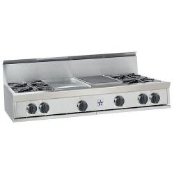 Brand: Bluestar, Model: RGTNB488BSS, Style: 4 Burners, 12 in. Charbroiler and 12 in. Griddle
