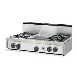 Brand: Bluestar, Model: RGTNB364GSS, Style: 4 Burners and 12-In. Griddle