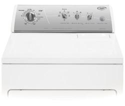 Brand: Whirlpool, Model: LEQ9858PG, Color: White with Silver Metallic Console