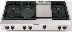 Brand: KITCHENAID, Model: KGCP483KSS, Style: 6 Burners with Griddle