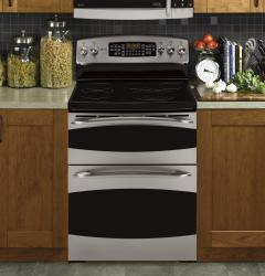 Brand: GE, Model: PB975DPBB, Color: Stainless Steel with Black Accents