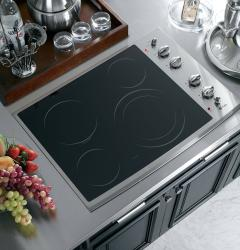 Brand: GE, Model: PP912TMWW, Color: Black Surface with Stainless Steel Trim