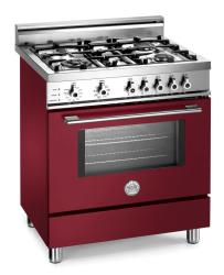 Brand: Bertazzoni, Model: X304PIRVI, Color: Burgundy, Natural Gas