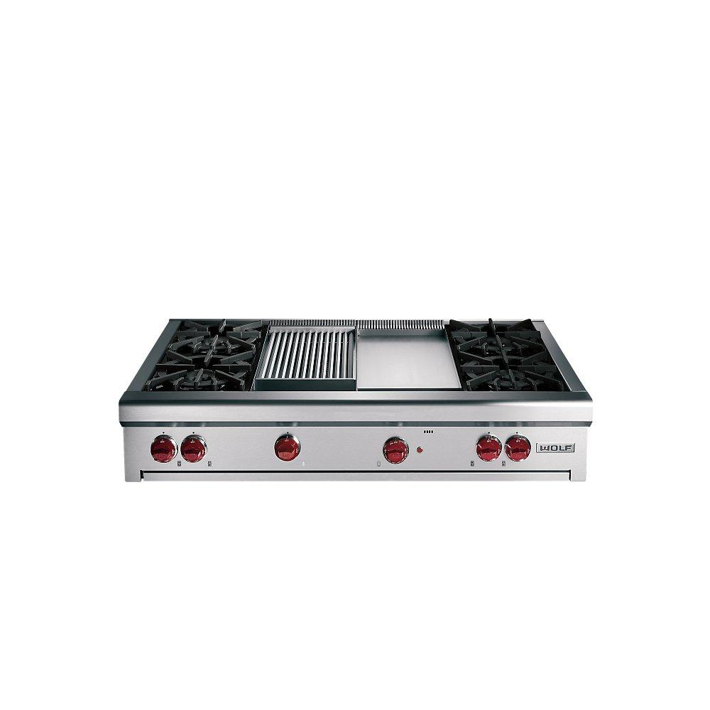 Wolf Rt486c 48 Quot Pro Style Gas Rangetop With 6 Dual Brass