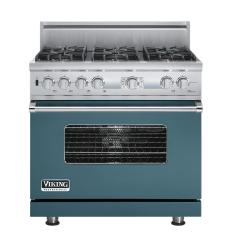 Brand: Viking, Model: VDSC536T6BCW, Fuel Type: Iridescent Blue