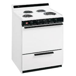 Brand: Whirlpool, Model: RF3010XEW, Color: White with Black Console