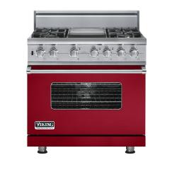 Brand: Viking, Model: VDSC5364GWHBR, Fuel Type: Apple Red, Natural Gas