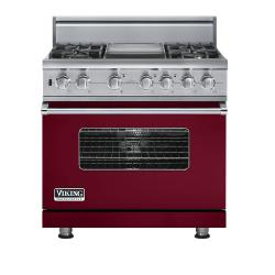 Brand: Viking, Model: VDSC5364GMJ, Fuel Type: Burgundy,  Natural Gas