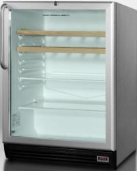 Brand: SUMMIT, Model: SCR600BLADACSS, Color: Stainless Cabinet/Handle with Wine Shelves