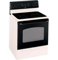 Brand: GE, Model: JBP66WKWW, Color: Bisque with Black Door