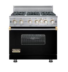 Brand: Viking, Model: VGIC5366BWHLP, Fuel Type: Black with Brass Accent