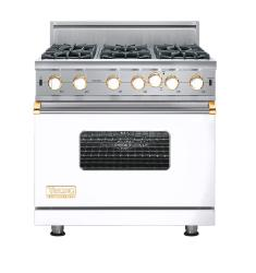 Brand: Viking, Model: VGIC5366BWHLP, Fuel Type: White with Brass Accent