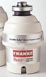Brand: FRANKE, Model: WD751, Style: 3/4 HP Continuous Feed Waste Disposer