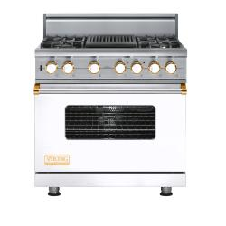 Brand: Viking, Model: VDSC5364QDJ, Fuel Type: White with Brass Accent
