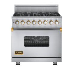 Brand: Viking, Model: VGSC5366BWHBR, Fuel Type: Stainless Steel with Brass Accent