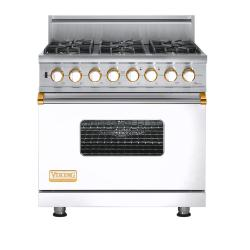 Brand: Viking, Model: VGSC5366BWHBR, Fuel Type: White with Brass Accent