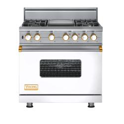Brand: Viking, Model: VGSC5364GVBLP, Fuel Type: White with Brass Accent