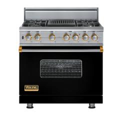 Brand: Viking, Model: VGSC5364QDJ, Fuel Type: Black with Brass Accent