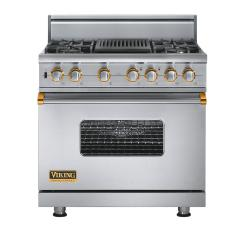 Brand: Viking, Model: VGSC5364QDJ, Fuel Type: Stainless Steel with Brass Accent