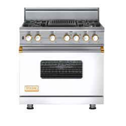 Brand: Viking, Model: VGSC5364QDJ, Fuel Type: White with Brass Accent