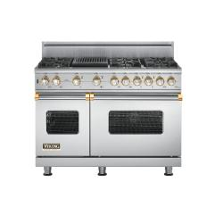 Brand: Viking, Model: VGSC5486QBKBR, Fuel Type: Stainless Steel with Brass Accent