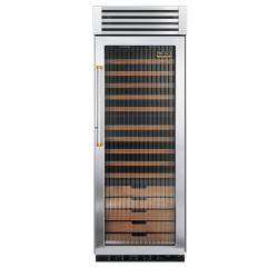Brand: Viking, Model: VCWB300FRSSBR, Style: Fluted Glass Door with Brass Accent