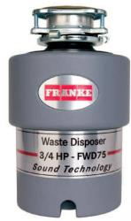 Brand: FRANKE, Model: FWD75, Style: 3/4 HP Continuous Feed Waste Disposer