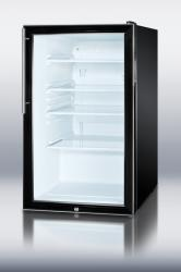 Brand: SUMMIT, Model: SCR500BLHV, Style: 4.1 cu.ft. Glass Door Refrigerator