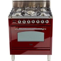 Brand: Ilve, Model: UPN76DVGGRB, Color: Burgundy, Chrome Trim