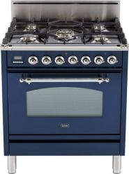 Brand: Ilve, Model: UPN76DVGGRB, Color: Midnight Blue, Chrome Trim