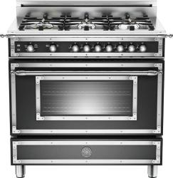 Brand: Bertazzoni, Model: HER366GASCR, Fuel Type: Matte Black, Natural Gas