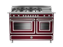 Brand: Bertazzoni, Model: HER486GGASCR, Fuel Type: Matte Red Wine, Natural Gas
