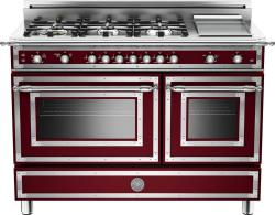 Brand: Bertazzoni, Model: HER486GGASNE, Fuel Type: Matte Red Wine, Natural Gas