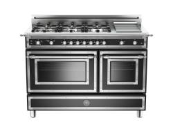Brand: Bertazzoni, Model: HER486GGASVI, Fuel Type: Matte Black, Natural Gas