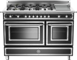 Brand: Bertazzoni, Model: HER486GGASNE, Fuel Type: Matte Black, Natural Gas