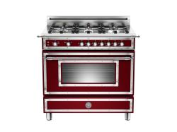 Brand: Bertazzoni, Model: HER366GASCR, Fuel Type: Matte Red Wine, Natural Gas