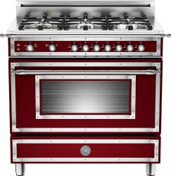 Brand: Bertazzoni, Model: HER366GASNELP, Fuel Type: Matte Red Wine, Natural Gas
