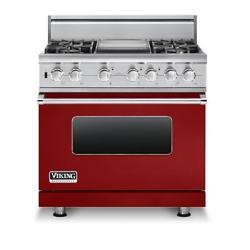 Brand: Viking, Model: VDSC5364GWHBR, Fuel Type: Apple Red, Liquid Propane