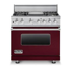 Brand: Viking, Model: VDSC5364GWHBR, Fuel Type: Burgundy, Liquid Propane