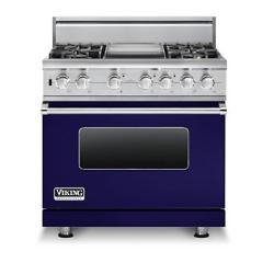 Brand: Viking, Model: VDSC5364GWHBR, Fuel Type: Cobalt Blue,  Liquid Propane