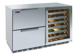 Brand: PERLICK, Model: HP48RWS2L4R, Style: Stainless Drawers/ Stainless Framed Glass Left Hin