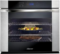Brand: Dacor, Model: RNO127, Style: Black Glass with Vertical Stainless Steel Trim and Handle