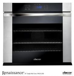 Brand: Dacor, Model: RNO130S, Style: Black Glass with Vertical Stainless Steel Trim and Handle