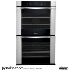 Brand: Dacor, Model: RNO230W, Style: Black Glass with Vertical Stainless Steel Trim and Handle