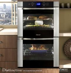 Brand: Dacor, Model: DTO230, Style: Black Glass with Vertical Stainless Steel Trim and Handle