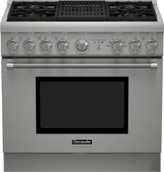 Brand: THERMADOR, Model: PRD364NLHU, Style: 36 Inch Pro-Style Dual Fuel Range